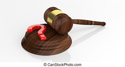 3d rendering auction gavel and a question mark