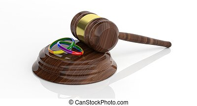 3d rendering auction gavel on white background