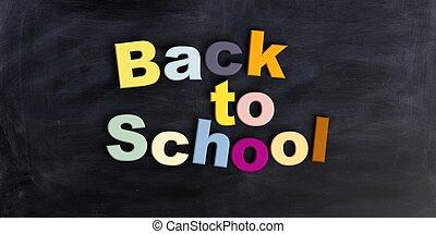 3d rendering Back to school on a black chalkboard