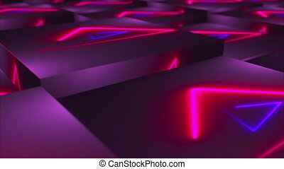 3d rendering backdrop of cubes with neon located at different levels. Computer generated technological area.