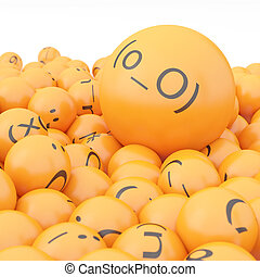 3d rendering background of emoticons