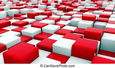 3d rendering background of white and red cubes located at different levels. Computer generated abstract area.