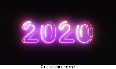3D rendering background with multi-colored neon text 2020 on black. Computer generated bright festive style