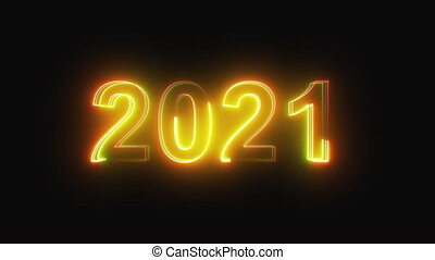 3D rendering background with multi-colored neon text 2021 on black. Computer generated bright festive style