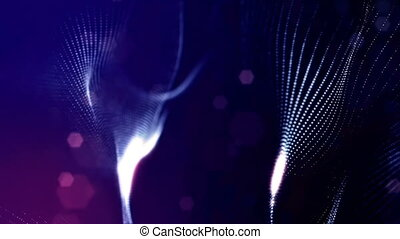 3d rendering background with particles and depth of field. Loop animation, seamless footage. Dark digital abstract background with beautiful glowing particles. Blue color V16