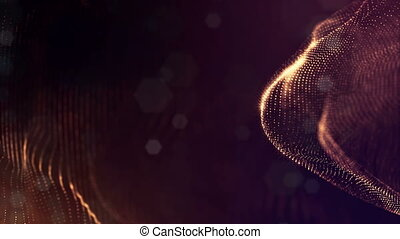3d rendering background with particles and depth of field. Loop animation, seamless footage. Dark digital abstract background with beautiful glowing particles. Gold color V8