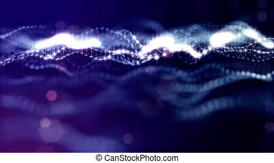 3d rendering background with particles and depth of field. Loop animation, seamless footage. Dark digital abstract background with beautiful glowing particles. Blue color V15