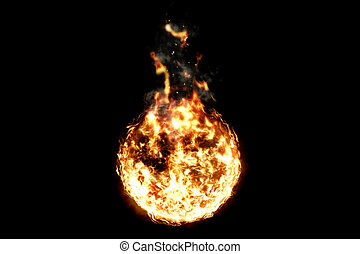 3D rendering, ball of flame fire with smoke in black background, dangerous flame