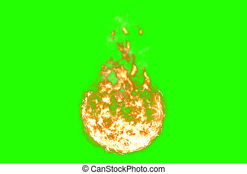 3D rendering, ball of flame fire with smoke in chroma key green screen background, dangerous flame