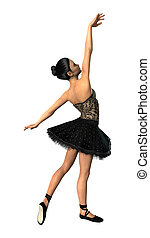 3D Rendering Ballerina on White