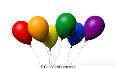 3d rendering baloons in gay flag colors - 3d rendering...