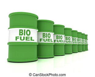 3D rendering barrels of biofuels. rendered illustration