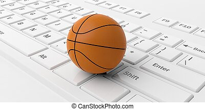 3d rendering basketball on a keyboard