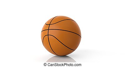 3d rendering basketball on white background