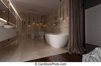 3D Rendering Bathroom Interior