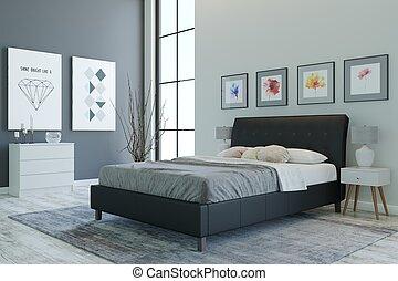 3D rendering. Bedroom interior. Stylish room design.