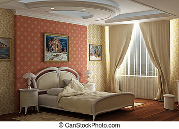 3d rendering. Bedroom with the big double bed with white...