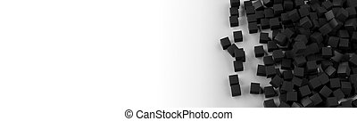 3d rendering black cubes white background