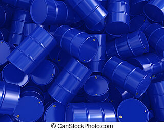 3D rendering blue barrels