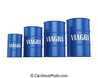 3D rendering Blue barrels Viagra - 3D rendering Viagra blue...