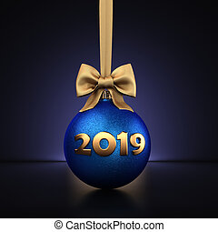 3D Rendering Blue Christmas Ball