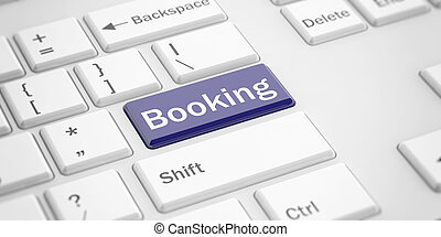 3d rendering booking button on a keyboard