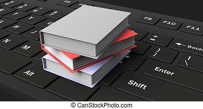 3d rendering books on keyboard