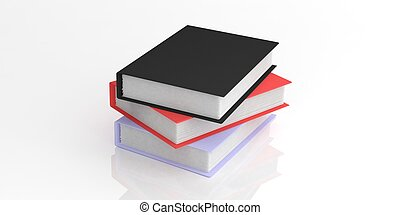 3d rendering books on white background