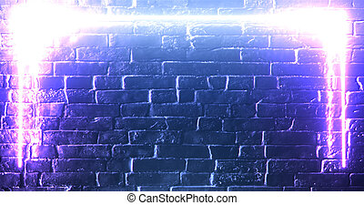 3d rendering. Brick wall illuminated by a pink neon lamp. Abstract background. Light effect on the protruding surface.