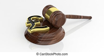 3d rendering British pound symbol and an auction gavel