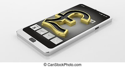 3d rendering British pound symbol on a smart phone