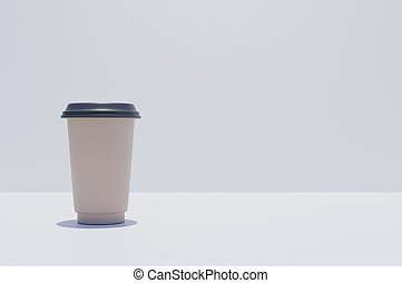 3D rendering brown coffe 2 go cup on a white tabel copy space