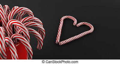 3d rendering candy canes on black background