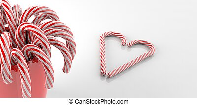 3d rendering candy canes on white background