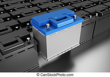 3D rendering. Car battery on grey background.
