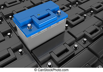 3D rendering. Car battery on white background.
