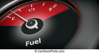 3d rendering car indicator fuel empty close up