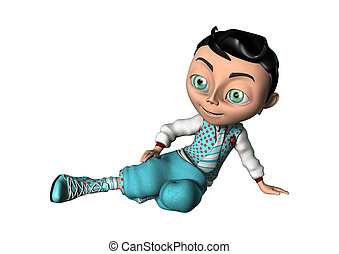 3D Rendering Cartoon Boy on White
