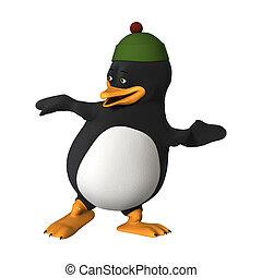 3D Rendering Cartoon Penguin on White