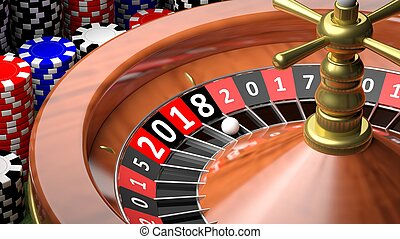 3D rendering casino roulette with New year 2018