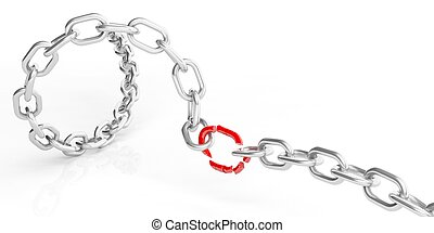 3d rendering chain on white background