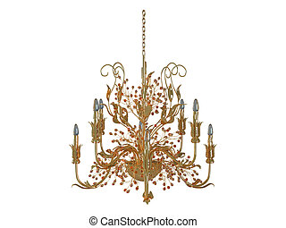 3D rendering chandelier, isolated on white background