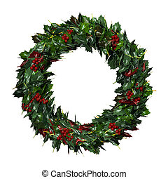 3D Rendering Christams Wreath on White