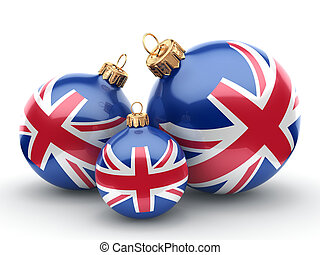 3D rendering Christmas ball with the flag of Great Britain -...