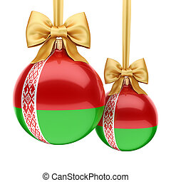 3D rendering Christmas ball with the flag of Belarus