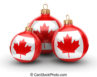 3D rendering Christmas ball with the flag of Canada