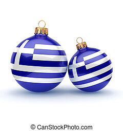 3D rendering Christmas ball with the flag of Greece