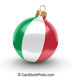 3D rendering Christmas ball with the flag of Italy