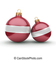 3D rendering Christmas ball with the flag of Latvia