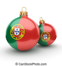 3D rendering Christmas ball with the flag of Portugal